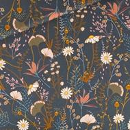 Afbeelding van Flower Field - M - Katoen Gabardine Twill - Nachtblauw